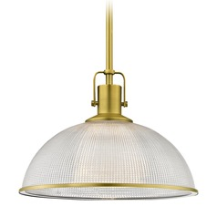 Brass Pendant Light Prismatic Glass 13.13-Inch Wide
