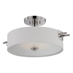 Modern LED Semi-Flushmount Light with White Shade in Polished Nickel Finish