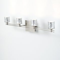 Holtkoetter Modern Bathroom Light with Silver Glass in Satin Nickel Finish