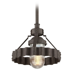 Troy Lighting Canary Wharf Burnt Siena Pendant Light with Fluted Shade