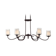 Chandelier with White Glass in Dark Cherry Finish