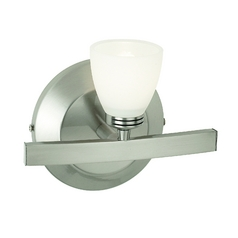 Modern Sconce Light with White Glass in Matte Chrome Finish