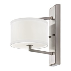Satin Nickel Sconce with Drum Shade