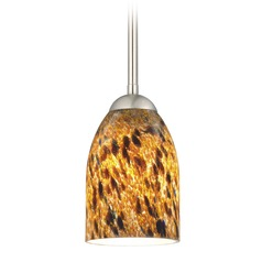 Design Classics Lighting Modern Mini-Pendant Light with Brown Art Glass 581-09 GL1005D
