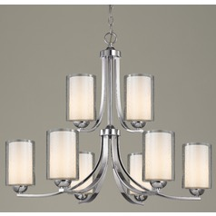 Seeded Glass Chandelier 9-Lt  Chrome Two Tier