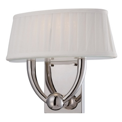 LED Sconce Wall Light with White Shade in Polished Nickel Finish