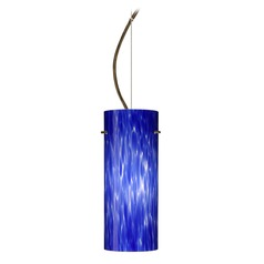 Besa Lighting Stilo Bronze LED Pendant Light with Cylindrical Shade