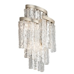 Corbett Lighting Mont Blanc Modern Silver Leaf Sconce