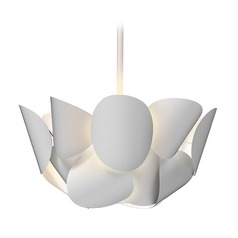 Sonneman a Way of Light Lotus Satin White LED Pendant Light with Abstract Shade
