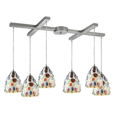 Modern Multi-Light Pendant Light with Multi-Color Glass and 6-Lights