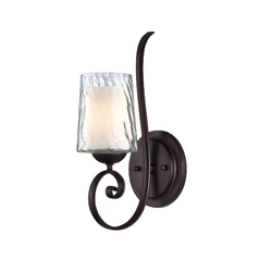 Sconce Wall Light with White Glass in Dark Cherry Finish