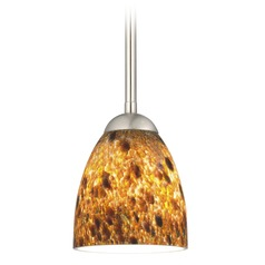 Design Classics Lighting Modern Mini-Pendant Light with Brown Art Glass 581-09 GL1005MB