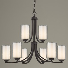 Seeded Glass Chandelier 9-Lt Bronze Two Tier