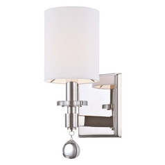 Crystal Sconce Wall Light with White Shade in Polished Nickel Finish