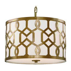 Crystorama Lighting Jennings Aged Brass Pendant Light with Drum Shade