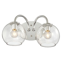 Mid-Century Modern Bathroom Light 2Lt Chrome with Clear Globe by George Kovacs