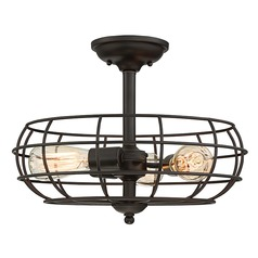 Industrial Semi-Flushmount Light Bronze Scout by Savoy House