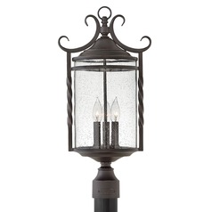 Traditional Seeded Glass Black Post Light 23.75 Inches Tall by Hinkley Lighting