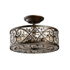 Semi-Flushmount Light in Antique Bronze Finish