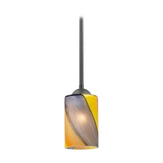 Modern Mini-Pendant Light with Art Glass
