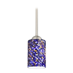 Design Classics Lighting Modern Mini-Pendant Light with Blue Glass 581-09 GL1009C