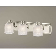 3-Light Vanity Light with Clear Prismatic Glass in Satin Nickel Finish