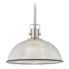 Industrial Prismatic Pendant Light Nickel / Black 13.13-Inch Wide