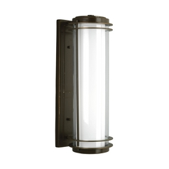 Progress Modern Oil Rubbed Bronze Outdoor Wall Light with White Glass