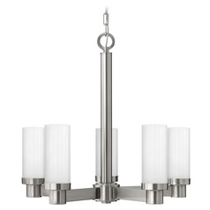 Chandelier with White Cylinder Glass in Brushed Nickel Finish