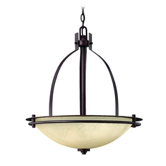 Pendant Light with Beige / Cream Glass in Metro Copper Finish