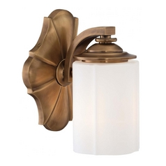 Sconce Wall Light with White Glass in Aged Brass Finish
