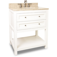 Bathroom Vanity in Cream White Finish - Pre Assembled Top and Bowl