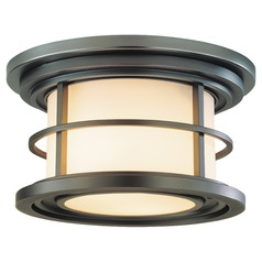 Outdoor Ceiling Light with White Glass in Burnished Bronze Finish