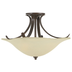 Semi-Flushmount Light with White Glass in Grecian Bronze Finish