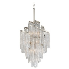 Corbett Lighting Mont Blanc Modern Silver Leaf Chandelier