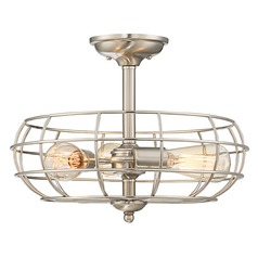 Industrial Semi-Flushmount Light Satin Nickel Scout by Savoy House
