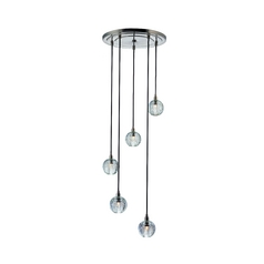 Modern Multi-Light Pendant Light with Clear Glass and 5-Lights