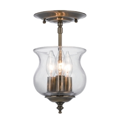 Semi-Flushmount Light with Clear Glass in Antique Brass Finish