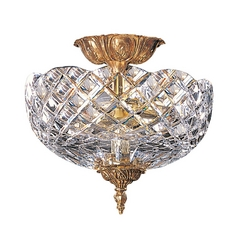 Crystorama Lighting Crystal Semi-Flushmount Light with Clear Glass in Olde Brass Finish 67-CT-OB