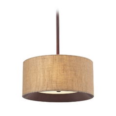 Drum Pendant Light with Wood Tone Shade in Dark Walnut Finish