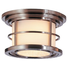 Outdoor Ceiling Light with White Glass in Brushed Steel Finish