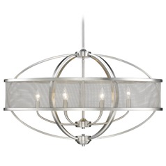 Golden Lighting Colson Pw Pewter Pendant Light with Oval Shade