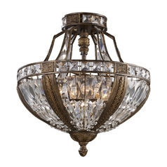 Semi-Flushmount Light with Clear Glass in Antique Bronze Finish