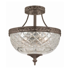 Semi-Flushmount Light with Clear Glass in English Bronze Finish