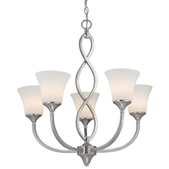 Contemporary Chandelier in Satin Nickel Finish with Five Lights
