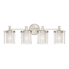 Modern Bathroom Light with White Glass in Brushed Nickel Finish