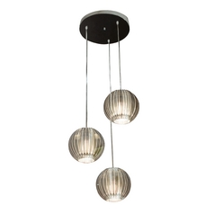 Modern Multi-Light Pendant Light with Clear Acrylic Shades and 3-Lights