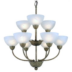 Grey Chandelier with Nine Lights and Alabaster Glass