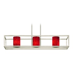 Red Art Glass Linear Chandelier 3-Lights in Satin Nickel
