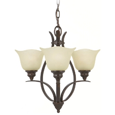 Mini-Chandelier with Beige / Cream Glass in Grecian Bronze Finish